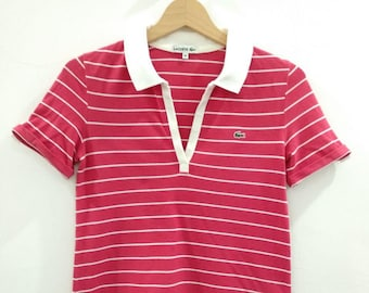 4f6e92cbae5e1 Vintage 90 s Lacoste Women Girl Polo Shirt Red and White stripes Size36  100% Cotton