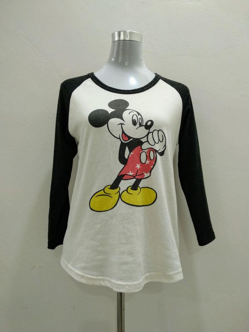 44200e1bcd85c FREE SHIPPING!!! Vintage Mickey Mouse Long Sleeve Women White Shirt