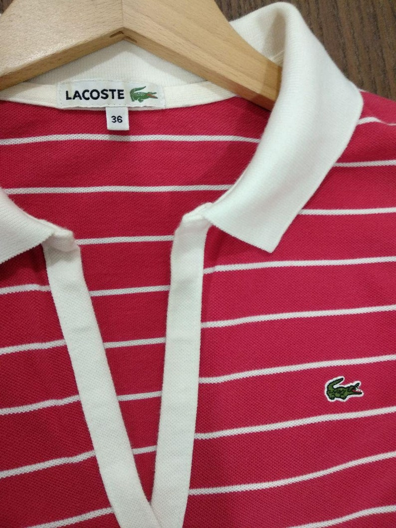 5c4ba0a11b60f FREE SHIPPING!! Vintage 90's Lacoste Women Girl Polo Shirt Red and White  stripes Size36 100% Cotton