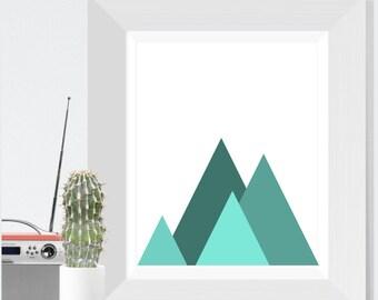 Modern Art Print, Teal blue Mountains, Mountain Print, Modern Wall Art, Modern Abstract, Landscape Print, Abstract Landscape, Office Art