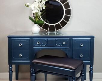 Desk, Vanity, Vintage, Hand Painted, Sapphire, Blue, Metallic Paint, Office  Furniture, Bedroom Furniture, Decoupage Furniture, Unique
