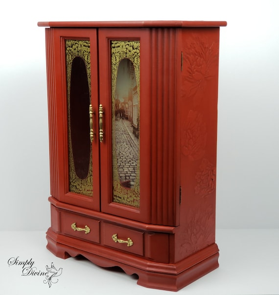 Tall Jewelry Armoire, Jewelry Box, Handpainted, Red, Floral, French Decor