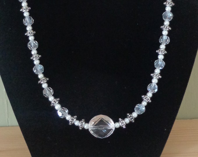 Necklace for women, glass Pearl and silver rings were maid