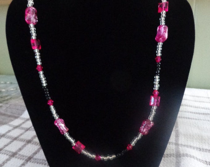 Large synthetic glass Pearl Necklace purple white pink birthday gift