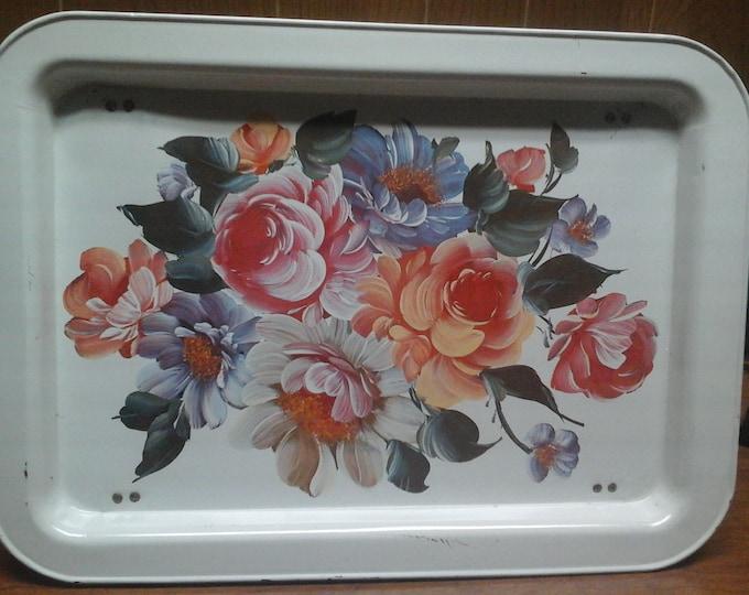 Vintage retro floral tray