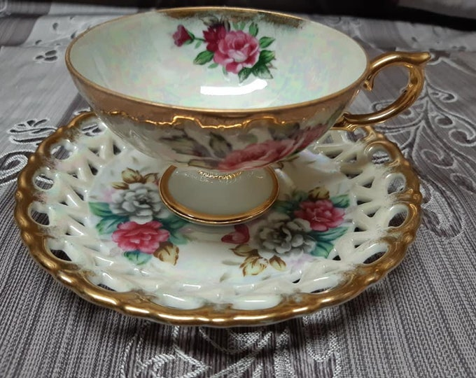 Cup and saucer gold flowers Shafford Japan