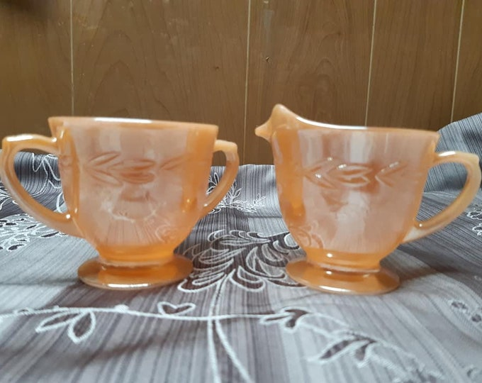 Set of Anchor Hocking fire King Peach luster cream vintage and sugar set, Fire King