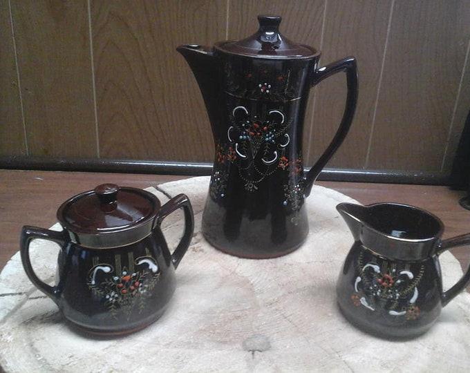 Vintage Japan Brown Glaze Redware Teapot Set Handpainted