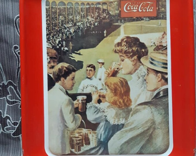 Vintage / / Coca-Cola / / VTG 1980's 24 Trays / / Coca Cola metal Serving Tray Retro / / Baseball Game Coke