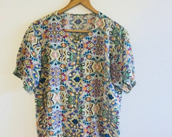 Boxy Multicoloured Patterned Button Blouse S / M