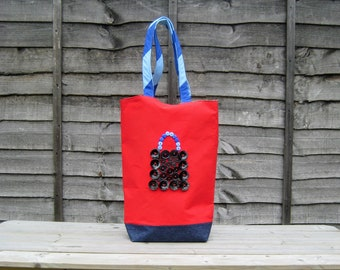Handmade large fabric tote bag, beach bag, pool bag, embellished summer bag, red grocery bag with zip pocket, gift for woman - charity
