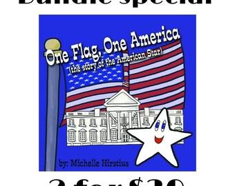 Patriotic children's book Gift Set Bundle, One Flag One America, American flag, USA, educational book, shower gift, birthday, graduation