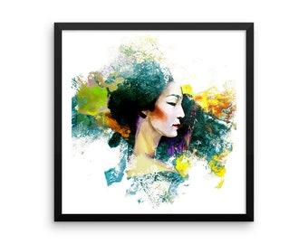 Geisha High Color Digital Artwork - Framed