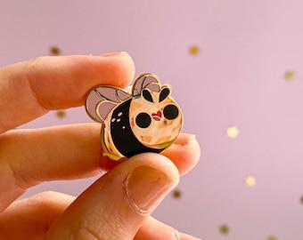 Lil Bee Enamel Pin - gold plated hard enamel - honeybee bumblebee bumble fluff - kawaii illustration keeperofthesuns