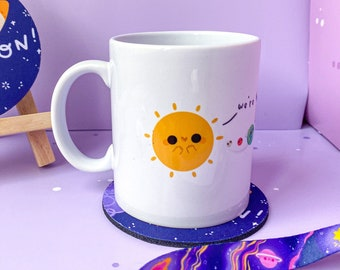 Support Solar System 11oz Ceramic Mug - Kawaii Printed Cup - Sweet Space lover Hot chocolate Tea Coffee - handmade by Keeper of the Suns