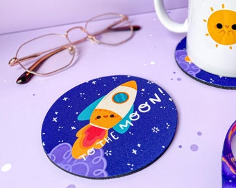 To the Moon // Handprinted Handmade Coasters - Kawaii Kitchen Accessories -  Hot Drink Mat for Coffee Lovers by Keeper of the Suns
