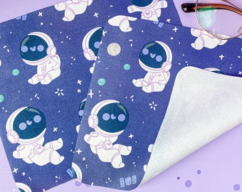 Astronaut Glasses Cleaning Cloth - handprinted microfibre to keep your glasses clean! space pattern planets kawaii - by Keeper of the Suns