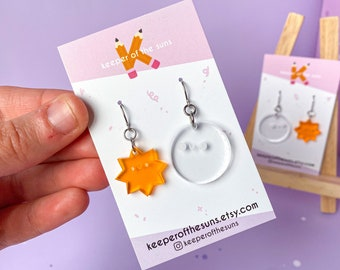 Starry Moon Dangle Earrings - Subtle Clear Classy Statement Acrylic Earrings - Smiley Kawaii Jewellery made by Keeper of the Suns