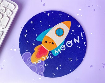 To the Moon Mousepad - Handprinted Mouse Mat - Kawaii Office Accessories for Any Student's Desk or Office - made by Keeper of the Suns