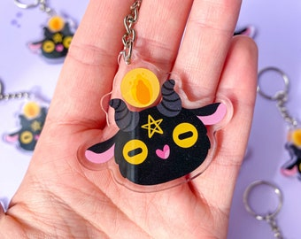 Baphomet Acrylic Charm // Kawaii Keychain charm - Satanic / Pagan folklore - Cute Baphomet Diety Witchy - Double Sided Print Charm