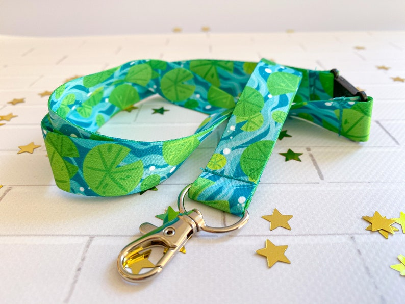 Turquoise Teal Froggy Wearable Merch happy accessories designed by Keeper of the Suns Lake Water Frogs Bubbles Lilypad Lanyard