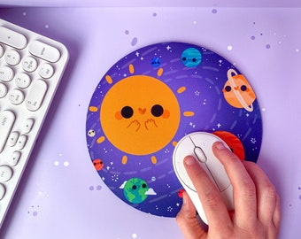 Solar System Mousepad - Handprinted Mouse Mat - Cute Kawaii Office Accessories for Any Student's Desk or Office - made by Keeper of the Suns