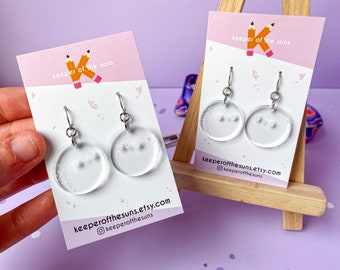 Moon Shine Dangle Earrings - Subtle Clear Classy Statement Acrylic Earrings - Smiley Kawaii Jewellery made by Keeper of the Suns