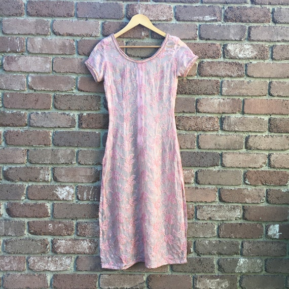 Vintage Pink 1960s Embroidered Lace Tunic Dress