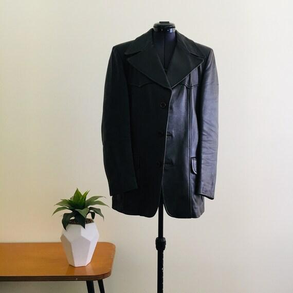 Vintage 70's Men's Brown Leather Jacket