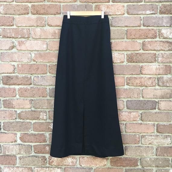 Vintage 70's Black Maxi Skirt, Split Front