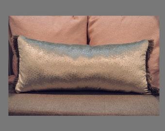 """Kravet Couture Modern Luxe 11"""" x 24"""" Velvet Pillow with Silk Fringe"""