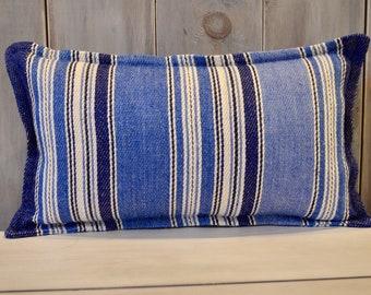 "Brunschwig & Fils St. Tropez Indigo/Sky Blue Linen/Jute 9""x17"" Pillow With Flange Edge and Premium K-fiber Insert"