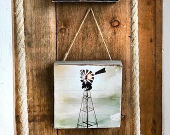 Wood Pallet Photo Transfer ©Krystle VanRoboys Photographer, Windmill, Photo Transfer on Wood, Wood Photo, Wood Art, Farm Decor, Western