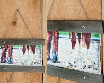 Canvas Hanger ©Krystle VanRoboys Photographer, Cowboy and Horse, Canvas, Photo Transfer, Rodeo, Western Art, Western Decor, Barn Art, Equine