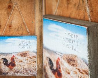 Rooster ©Krystle VanRoboys Photographer; Photo Transfer on wood, Wood Photo, Rustic Art, Farmhouse Decor, Chicken, Farmhouse Decor, Farm