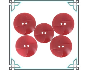 Red Celluloid Buttons Red Art Deco Buttons Set of 5 Art Deco Red Celluloid Buttons