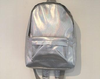 Silver holographic rucksack bag size medium