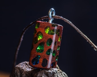 Full of colorful holes pendant, wood and resin, blue and green
