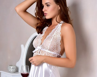 207d6a7829 White bridal lace nightgown Sexy peignoir for women Bridal lingerie wedding  night Satin short nightgown Bridal shower gift from sister