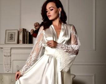 eef937f8c8 Long lace bridal robe Wedding kimono Long bridal robe Kimono robe Bridal  dressing gown Maxi robe Kimono long Bride robe Bridal kimono