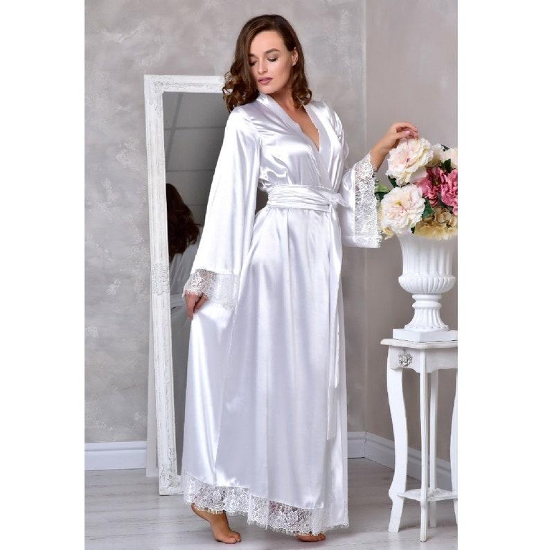 8acdc859176 White long bridal robe Wedding kimono robe Long lace bridal