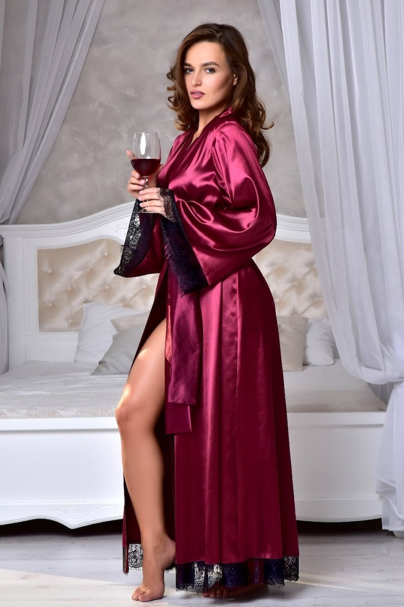 4b461d0f69 Burgundy kimono bride robe Long bridal robe with lace Satin dressing gown  Long robes for women Wife christmas ...