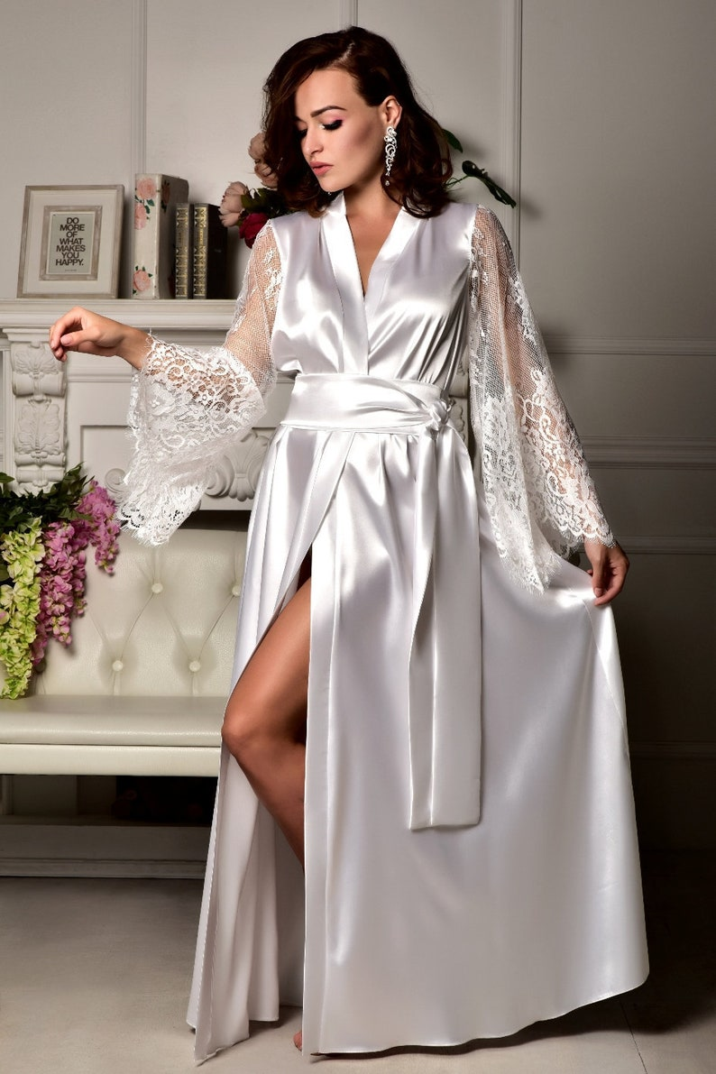 Long bridal robe Long white robe Wedding kimono Long lace  25e641c20