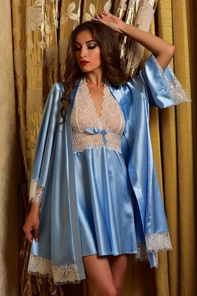 16a18ec7d9905e Blaue Braut Robe Bridal Nachtkleid und Robe Kimono Robe Robe | Etsy