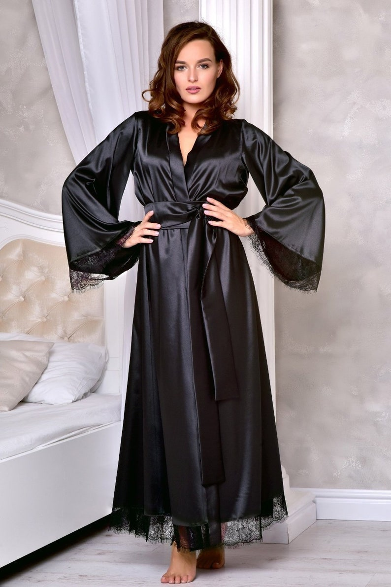 df975ada0d Black long dressing gown Wedding kimono robe Long lace bridal robe Long  robes for women Maxi robe ankle length Black sexy satin robe