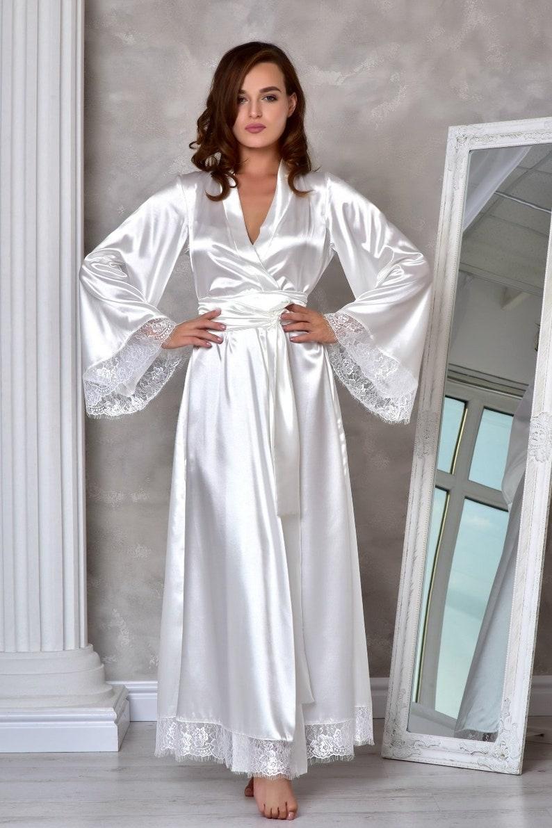 81661874a1b Light ivory long bridal robe Wedding kimono lace robe Bridal