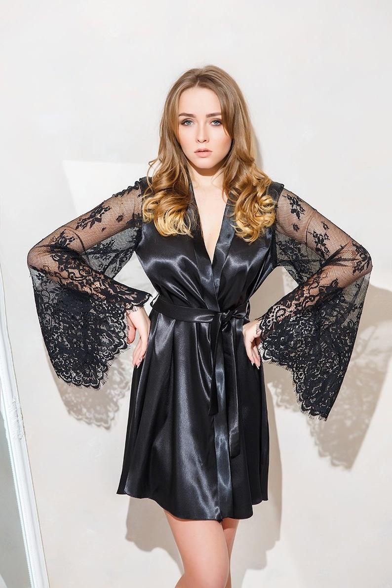 ff20c3906e Black kimono robe Satin black robe Bridesmaid robe Kimono