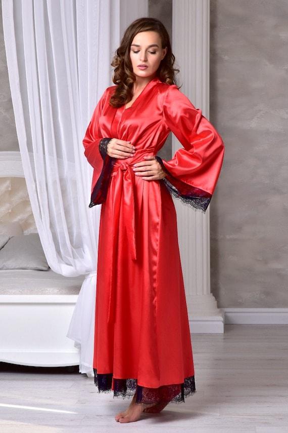 Abiti Da Sposa In Regalo.Abito Da Sposa Lungo Rosso Con Pizzo Regalo Di Compleanno Per Il Suo Kimono Sposa Vestaglia Maxi Raso Vestaglia Robe Abiti Lunghi Per Le Donne
