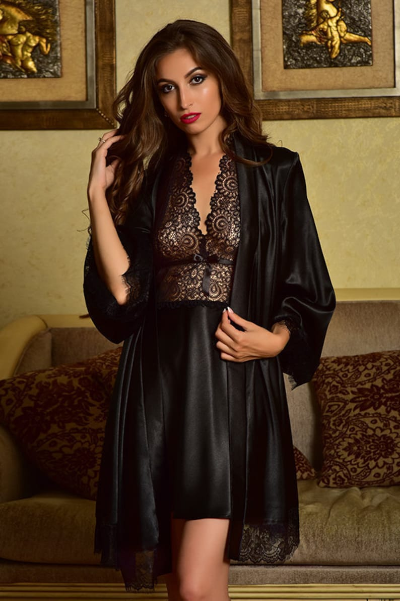 241cf98329f1 Black nightgown and robe Peignoir set Satin nightgown Robe and