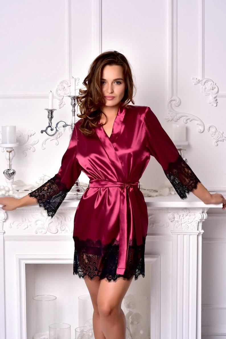 Burgundy bridesmaid satin robe Black lace dressing gown Kimono  7b77f0a3b